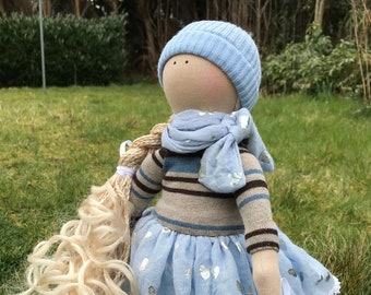 Textil Handmade Doll Tilda Rag Unique Collection Art Doll Decoration Doll Interior Doll Art Blond Doll Collectable Baby Doll