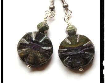 Handmade Teal & purple flower disc bead earrings