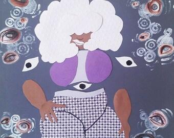 The Eye Witch-Framed Paper Craft Illustration