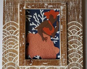 Curious Mermaid-Framed Paper Craft Illustration