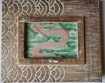 Eel Mermaid-Framed Paper Craft Illustration