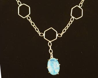 Necklace – Handmade – Sterling Silver with Blue Agate Cabochon