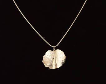 Leaf Pendant – Handmade – Sterling Silver Contemporary with bonus chain