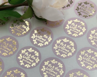 Blush/Dusty Pink Theme Gold Foil Wedding Day Mr & Mrs Stickers•Evelope Seal•Favour Labels