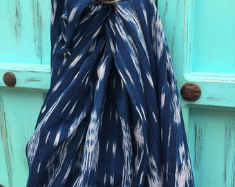 16285fbc541 Ikat Traditional Guatemalan 100% Cotton LIght Weight Ring Sling Baby  Carrier - Chapina Slings - Azul