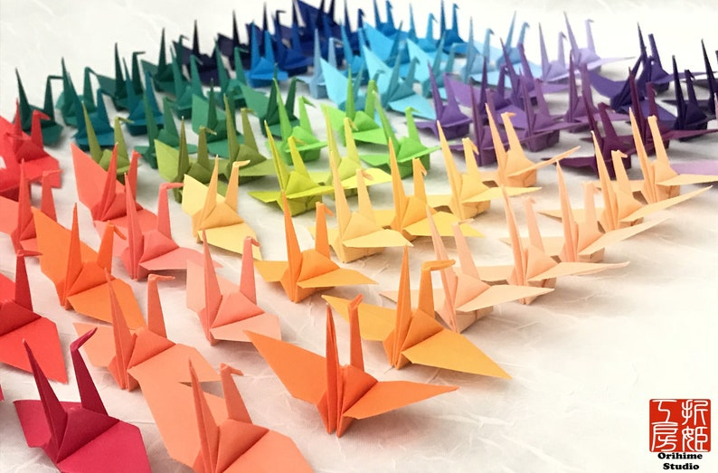 100 Mini Origami Cranes 2 In Colorful Paper Cranes Japanese Etsy