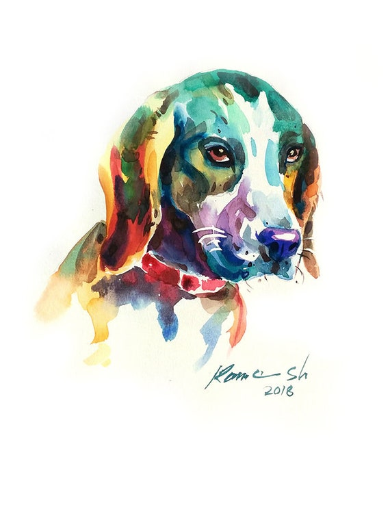 Custom Dog Portrait Summer Gift Baskets Art Dog Abstract Dog Art Dog Art Print