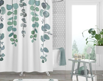 Shower Curtain Bathroom Decor Plant Tropical Watercolor Polyester