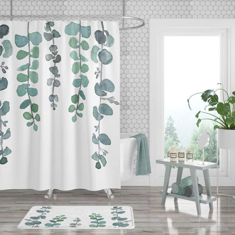 Eucalyptus Shower Curtain Plant Shower Curtain Botanical image 0