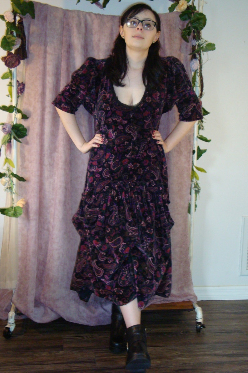 Black Velvet with Burgundy and Mauve Paisley Dress with Elbow Length Sleeves and Rousing Aroung the skirt