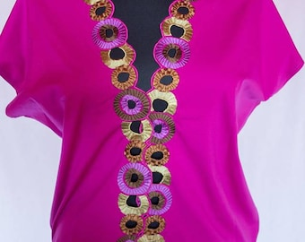 SALE 20%, New women spring blouse, Embroidered top, Pink blouse, Modern party top, Oversize, Elegant blouse, Clothes