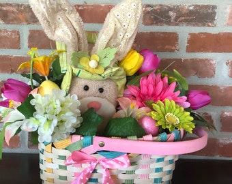 Bunny Basket Centerpiece, Easter Centerpiece,   Bunny Basket Table Arrangement, Easter Table Arrangement, Spring Centerpiece