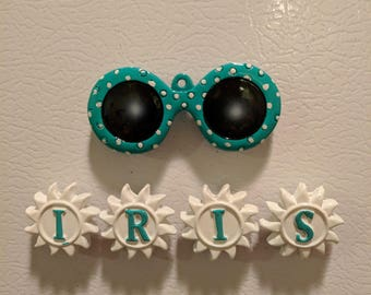 Mardi Gras Iris Sunglasses Throw Magnet - Krewe of Iris
