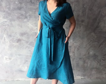 dcd8932b558 Linen comfortable and loose short sleeves wrap summer dress with pockets  and belt