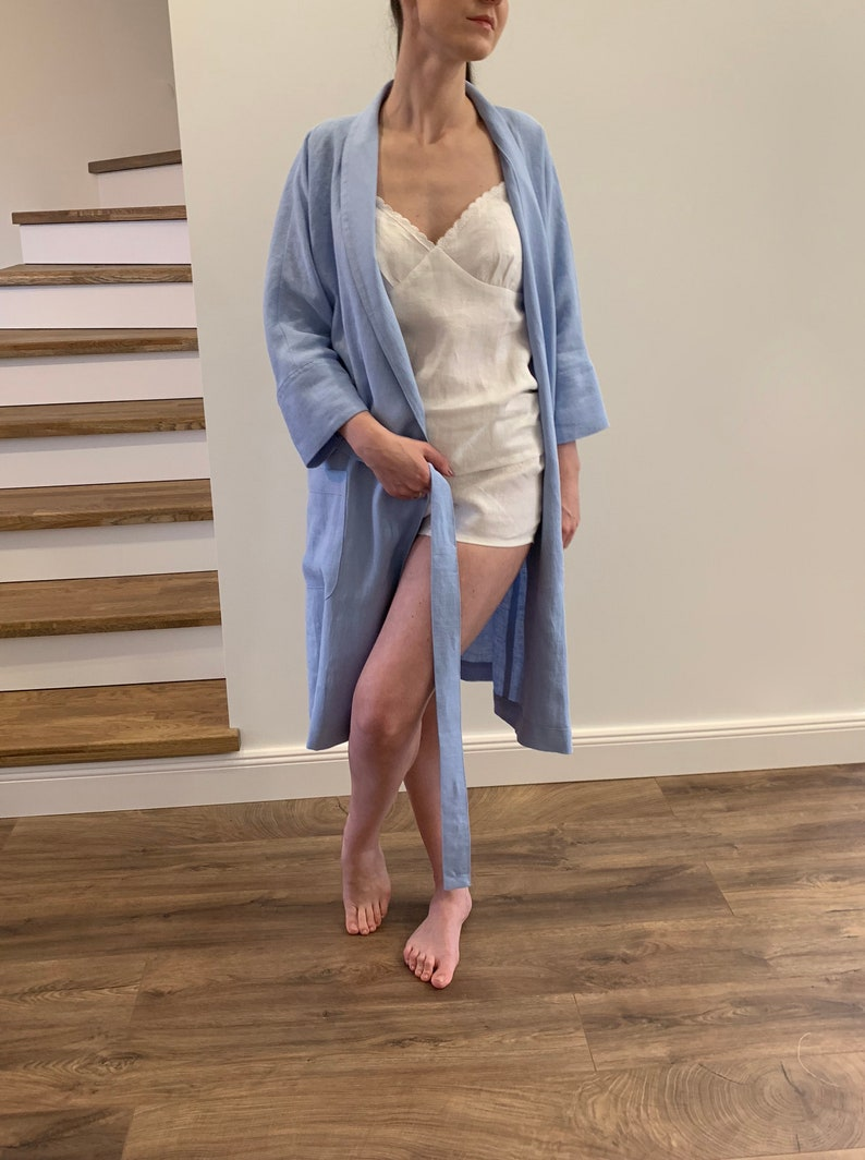 MaTuTu Linen Style bath clothes Linen kimono wrap bathrobe with pockets for women blue soft natural washed linen robe with belt