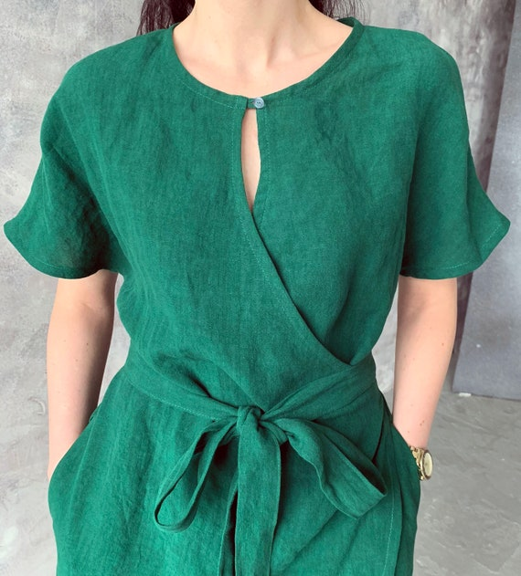 Linen loose kimono wrap summer dress with pockets, emerald green loose washed linen tunic with kimono sleeves and belt, MaTuTu linen Style