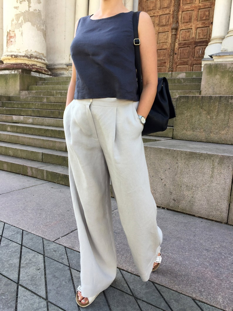 wide linen pants with pockets Washed and soft natural linen loose trousers with pockets light grey loose fit linen bottoms for womens