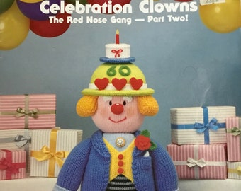 Jean Greenhowe's CELEBRATION CLOWNS, The Red Nose Gang. Knitted in 8 Ply (USA Worsted) - Part Two, c 1993