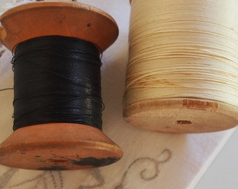 Wooden Spools with Cream and Grey Linen Thread