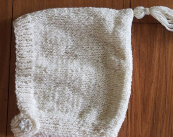 Vintage Pixie Tassel Bonnet - Cream 6-12 months