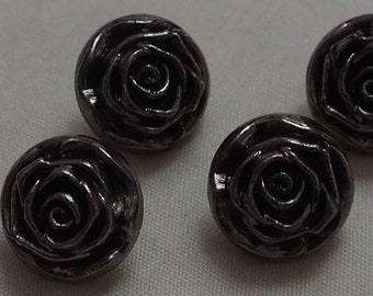 4 x Attractive Rose Flower Shaped Buttons with shank - 14mm