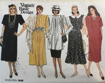 46f9864f613c Vintage 1980s VOGUE Basic Design Pattern No. 1848