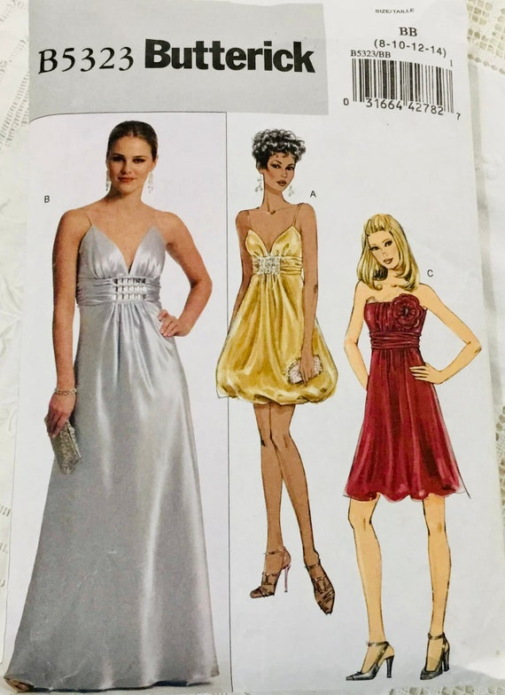 Crop Top Gathered Skirt Prom Cocktail Dress Gown Sewing Pattern Sz 6 8 10 12 14
