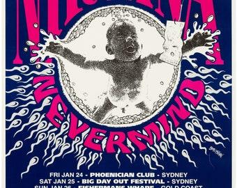 Nirvana Australian Tour Concert Poster 1992 Rare