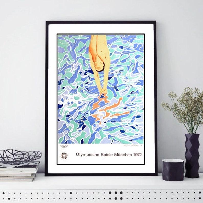 1972 Munich Olympics Swimming Poster A3//A4 Print