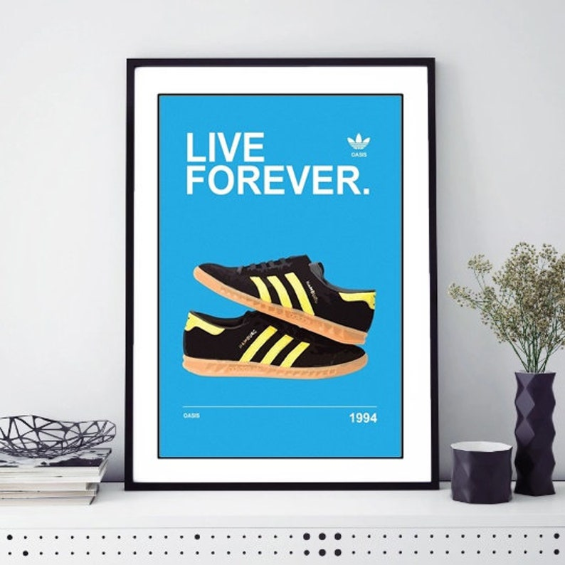 991587144ea3 Oasis Liam Gallagher Noel Gallagher Adidas Live Forever Poster