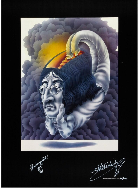 Beatles Related John Lennon Poster by Alan Aldridge Signed  5638186d14740