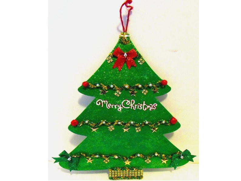 Hand Painted Wooden Christmas Tree Ornament Wreath Sign Holiday Decoration