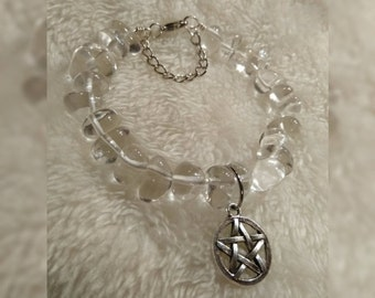 Pentacle Clear Quartz Wire Bracelet
