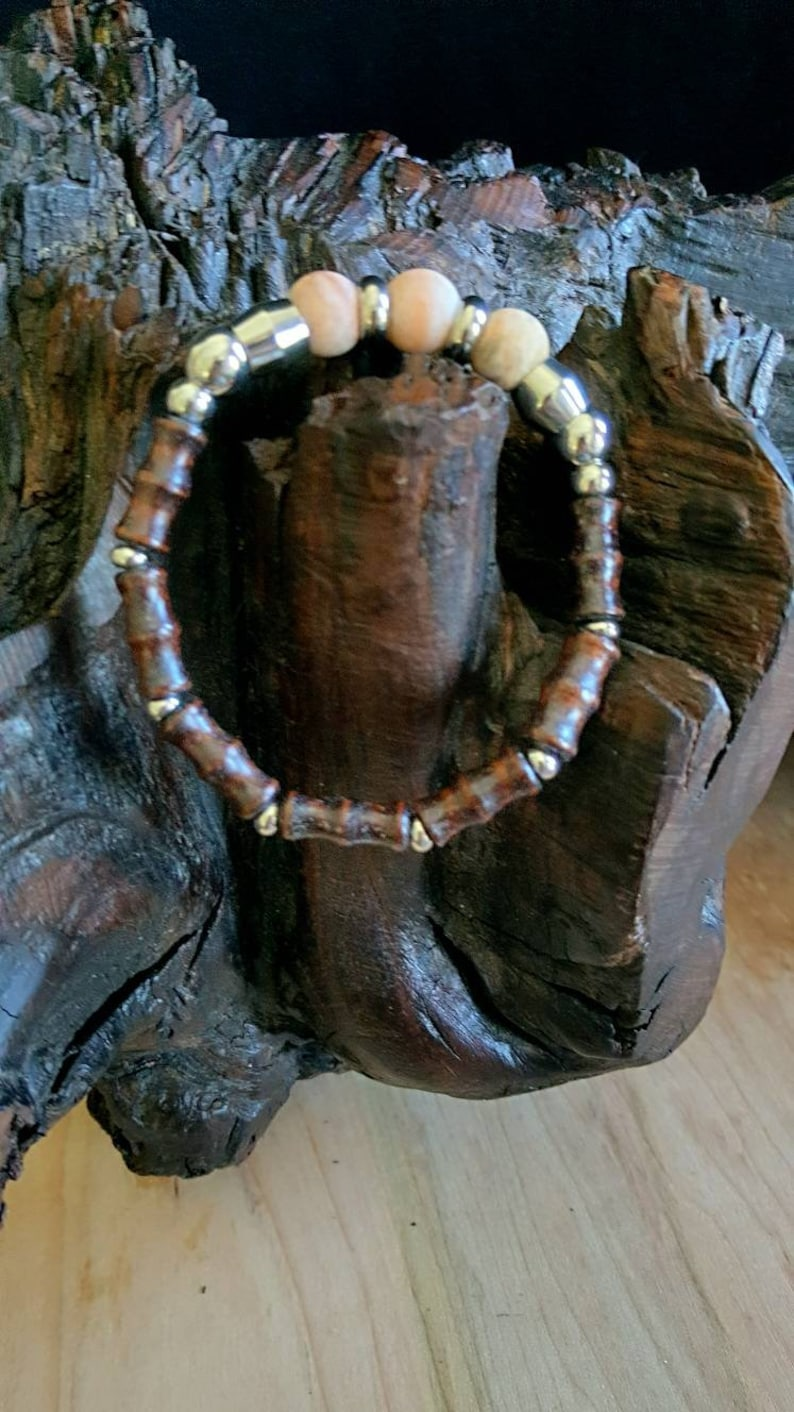 Unisex Bracelet Bamboo Woid and Crazy Lace Agate Bracelet Gift for Him