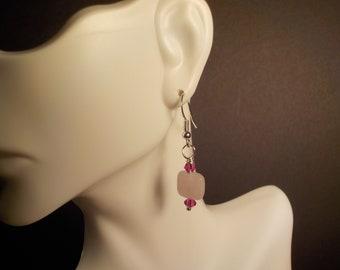 Fuchsia Swarovski Crystal and Pink Quartz Earrings