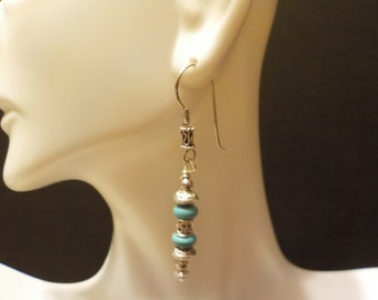Turquoise bead with Sterling Silver Accent Earrings