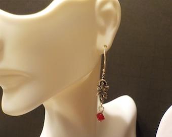 Fuchsia Swarovski Crystal on Oxflower Dangle Earrings
