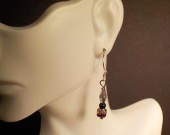 Purple Swarovski Crystal and Purple Czech Bead Earrings