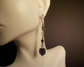 Black and Gray Swarovski Crystal Earrings