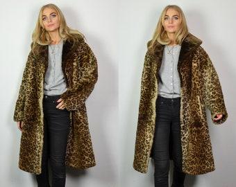 6530c0101e0 Premium Vintage 1960 s Leopard Print Faux Fur Coat