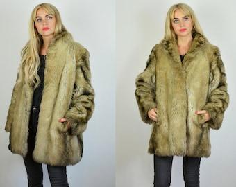 Vintage 70/'s Cream Hooded Arctic Faux Fur Coat