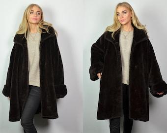 cec5e87724b Vintage 70s Oversized Soft Black Faux Fur Coat