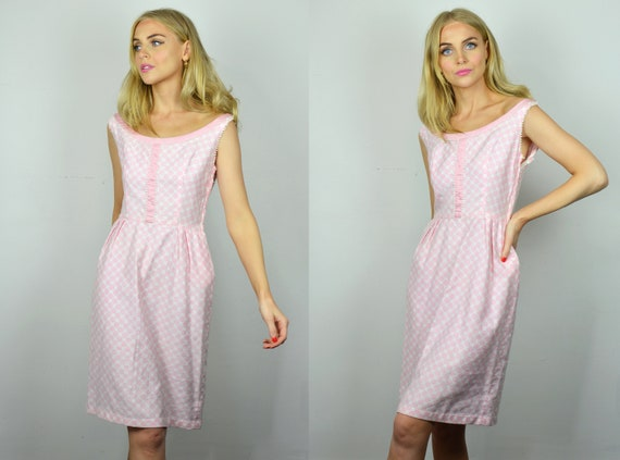 Vintage Wedding Guest 1960s Pastel Pink & White Fi