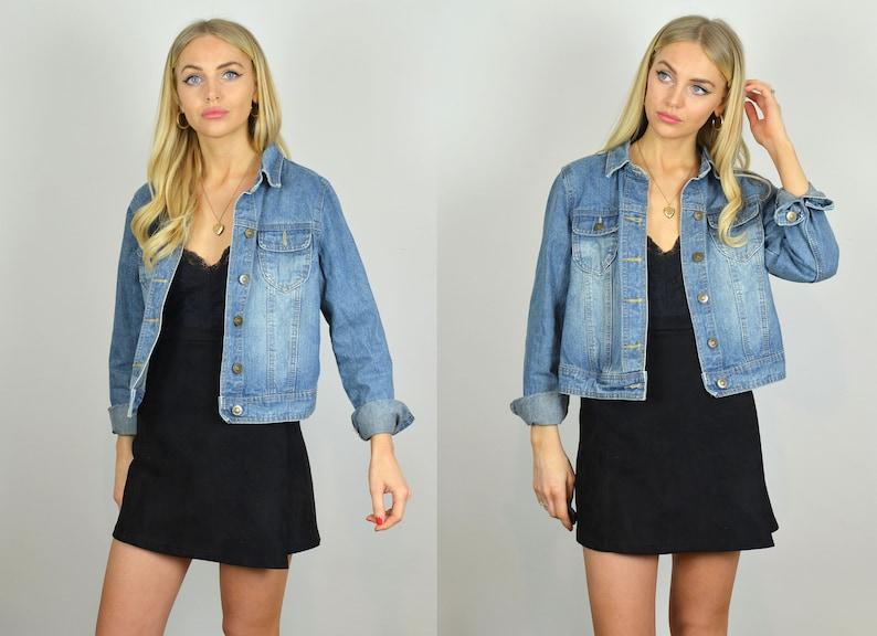Petite Vintage 90s Mid Blue Crop Denim Jacket