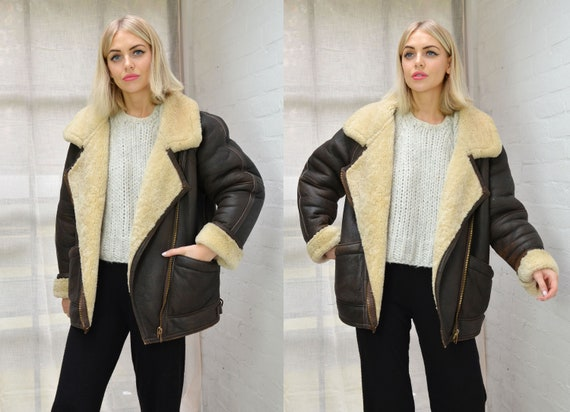 Vintage Oversized Dark Brown Leather & Shearling A