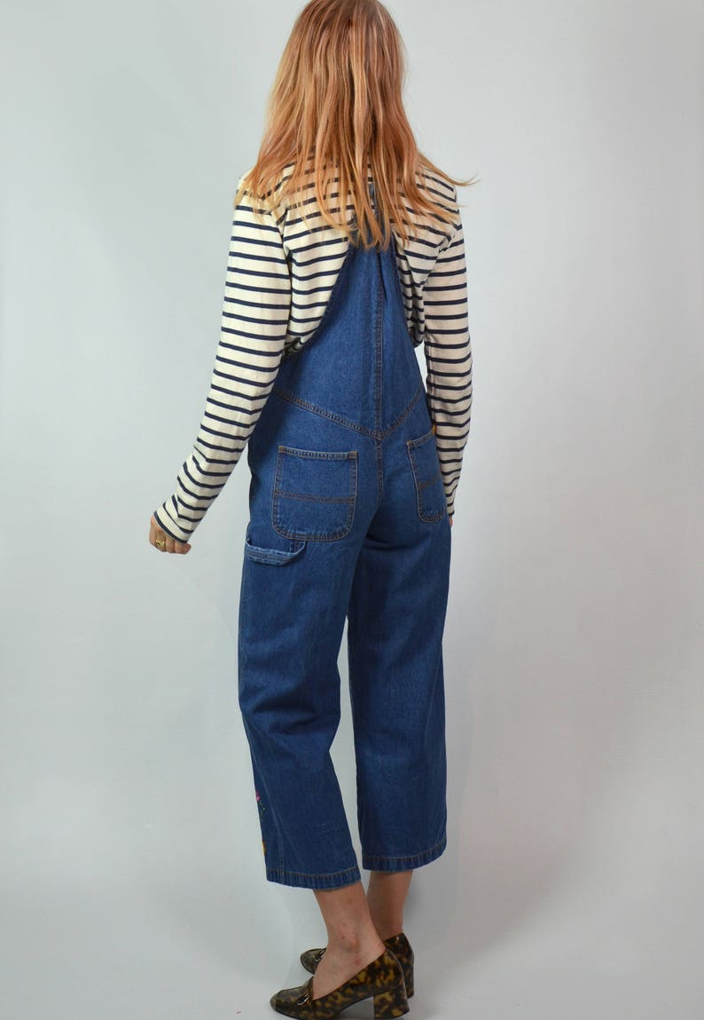 Vintage 90s Petite Indigo Blue Denim Cropped Flare Embroidered Dungarees