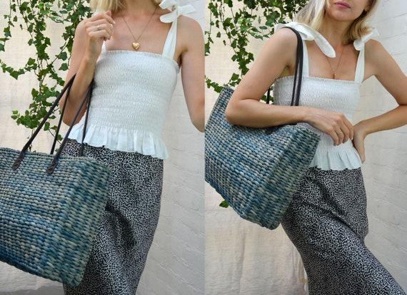 Vintage Y2K Blue & Black Straw Basket Shoulder Bag