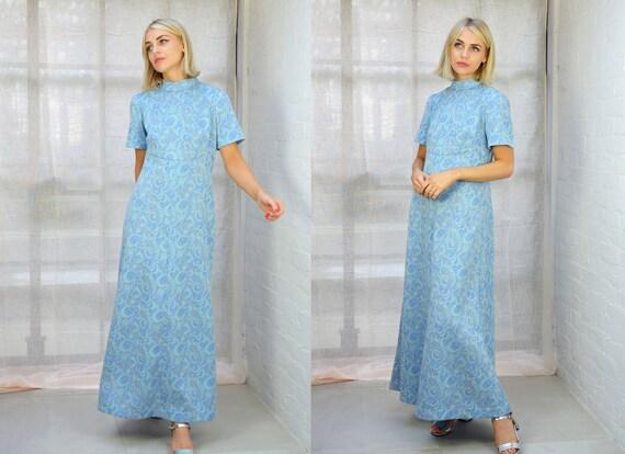 Vintage 1970s Pastel Blue Metallic Boho Maxi Dress