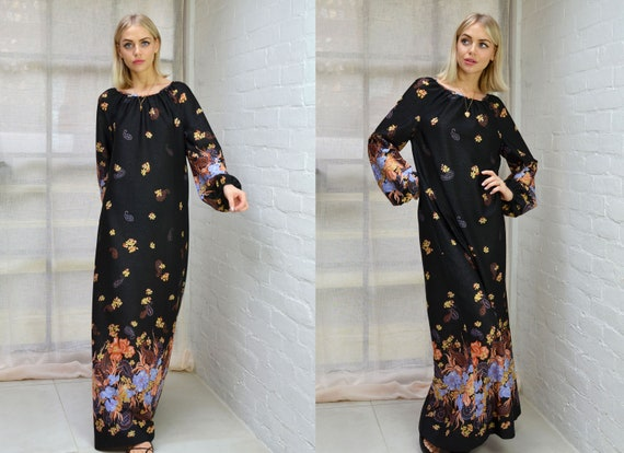 Vintage 70s Black Floral Boho Maxi Dress Puff Slee