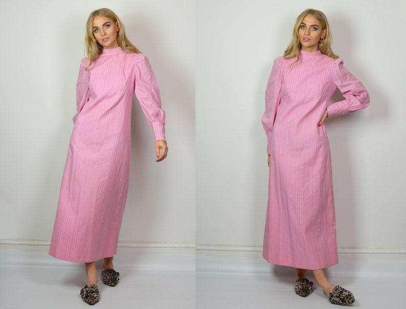 82809cb8a06 Vintage 70s Pink Bohemian Long Sleeve Maxi Dress | Etsy